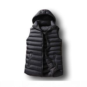 Mens Winter Sleeveless Jacket Men Down Vest Mens Warm Thick Hooded Coats Male Cotton-Padded Work Waistcoat Gilet Homme Vest 6XL