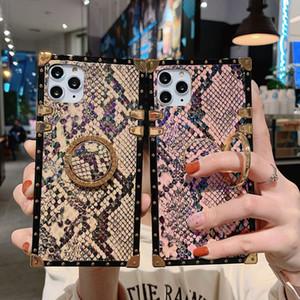 Coque de téléphone carré de la peau de serpent d'animaux de luxe pour iPhone 12Pro Max SE 1010 x 8 Plus Vintage Bague Soft Cover Cover Coque