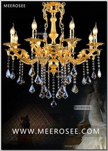 Modern Gold Crystal Lampadario Lampadario Illuminazione 8 braccia Classic Metal Pendant Lustro Appeso Lampada a sospensione per Foyer Living Romm Bedroom