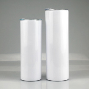 20oz 30oz Sublimation Straight Skinny Tumbler Stainless steel blank white skinny cup with lid straw Cylinder bottle sea shipping BWB1959