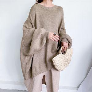 LANMREM otoño nueva moda color sólido cuello redondo murciélago manga de murciélago de gran tamaño suéter de punto largo PB615 201127