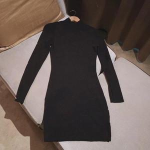 2020 Nuevas mujeres de manga larga de la letra de la letra de la lámina de la túnica de punto del lápiz del otoño del lápiz del vestido de la túnica más