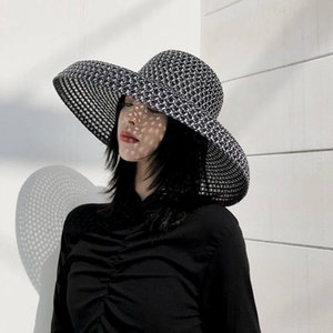 20ss Black Straw Weaving Caps Womens Wide Brim Hats Holiday Beach Hat High Quality Sun Hats Tide Fisherman Hats