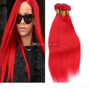 9A grado Malasia Rojo Humano Tejido Hermosa 3 Paquetes Sedoso Sedoso Red Straight Color Rojo Color Pelo Extensiones 3pcs Lot Long Longitud