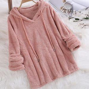 Women Warm Fluffy Hoodies Winter Loose Hooded Sweatshirts Tops Flannel Pullover Pajamas Solid Long Sleeve Plush Hoodies Outwear