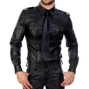 Faux manches longues PU en cuir PU T-shirts Fitness Tops Gay T-shirt T-shirt T-shirt Hommes Sexy Party Clubwear