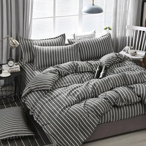 Quality Brief Stripe Printing Textile Bedding Set Include Duvet Cover&sheets&pillowcases Comfortable Home Bed Set