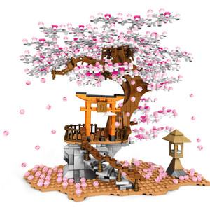 Sembo City Street Series Cherry Blossom Shrine Bricks Sakura Spiral Stairs Tree House With Light Model Building Blocks Kids Toys Q1222