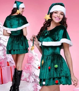 Hot Sell Mascot Costumes Green Christmas Tree Dress Womens Christmas Clothes Long Sleeve Fur Skirt Hot Styles Free shipping DHL