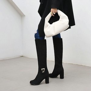 Faxu camura borgonha Azul Прету Mulher sapatos де Inverno Bloco Сальто альт feminino joelho Botas Альтас ком fivela дополнительный tamanho GRANDE 46