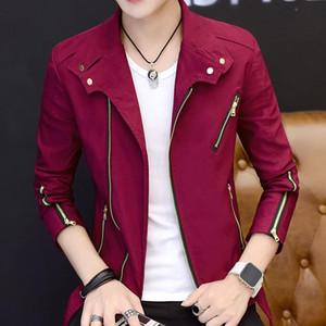 Idopy мода стиль мужская уличная куртка нерегулярная молния стройная пригодная личность индивидуальность на молнии на молнии ошейник для мужчин