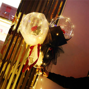 LED Balloon Light LED Luminous Bobo Ball Flashing Light Rose Bouquet Rose Valentines Day Gift Balloon for Birthday Party EEB4208