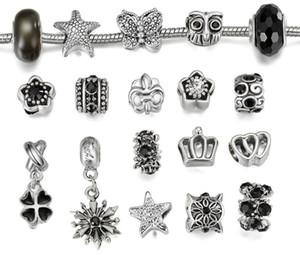 Portes de style Pan Pan Silver Keychains en argent Noir Murano Verre Perles d'eau Diamond Charières Chaînes pour bracelets personnalisés