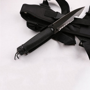 Top Quality Diver'knife Outdoor Survivial Straight knife 7Cr13Mov Black Titanium Coated Blade Rescue knives with Nylon Sheath