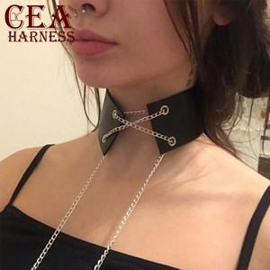 CEA.HARNESS Wide Choker Harness Lingerie Belt With Sexy Metal Chain Neck Garter Belts Prom Dress Accessories Suspenders Harness