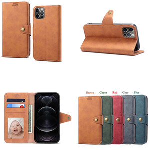 Magnetic Flip Leather Case 3 Card Slots Bracket Shell for iPhone 12 11 Pro Max XS XR 6s 8 Plus Samsung S10 S9