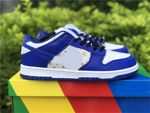 Authentic SB Dunk Skateboard Shoes Men Women Low Hyper Blue Black Barkroot Brown White Metallic Gold Zapatos Sneakers With Original Box