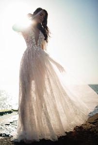 Boho Wedding Dress Short Sleeve Deep V Nec Sheer Back Flower Applique Lace Bohemian Bridal Gowns Custom Made Plus Size