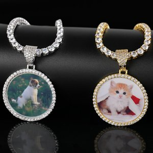 DIY foto pingente redondo colar diy jóias ouro e prata pode colocar foto colar xd24283