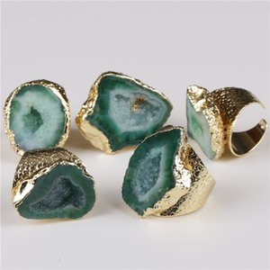 big gold rim vintage retro green dark green geode crystal stone slice bead charm adjust open hammered ring cuff for woman man