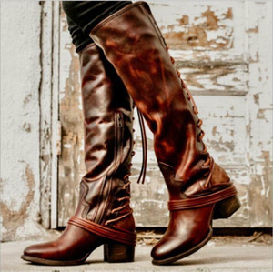 Womens Fringe Chunky Heels Side Zip Knee High Boots Lace Up Warm Knight Shoes V3