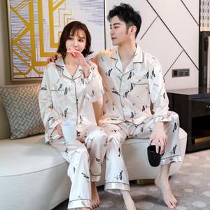 FZSLCYIYI Printed Couple Silk Satin Pajamas Set Long Sleeve Sleepwear Pijama Pyjamas Suit Women Men Sleep 2PC Set Loungewear