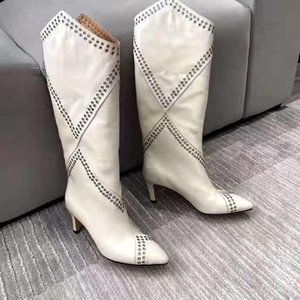 Women's Shoes Paris Lahia Eyelet Embellished Calf-high Boots White Genuine Leather