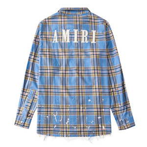 Autumn Winter Europe patchwork plaid Men Women Long Sleeve embroidery splashed ink tassels Casual cotton Shirt Street Shirt