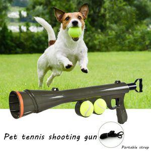 Pet Tenni Tenni Tenni Tenni Pistolet Boule de chien Launcheuse Pet Dog Automatique Ball Interactive Tennis Tennis Launcher Slower pour chiens Aides à la formation de chiens W1218