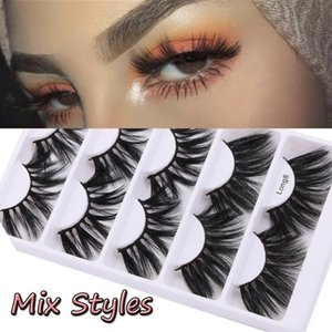 5Pairs 3D Faux Mink Hair False Eyelashes 25mm Natural Long Wispies Lashes Handmade Cruelty-free Criss-cross Eyelashes Extension