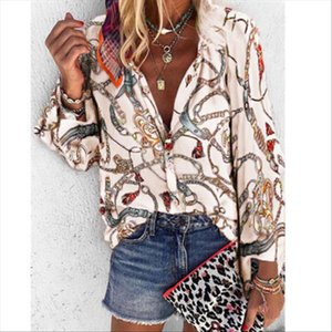 6 Colors Chiffon Office Women Ladies Blouse Chain Print Shirts Button Long Sleeve Spring Summer Tops V neck Blusas Plus Size