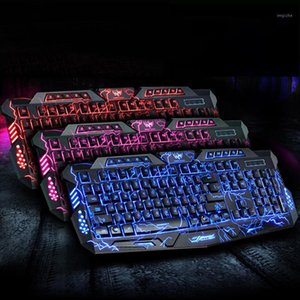 Mechanical Keyboard Mouse LED 3-Color USB Wired Gaming Keyboard Mouse Cool Colorful Breathing Backlit Waterproof Crack1