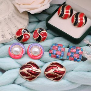 Colourful Earrings Imitation Pearl Creative Enamel Alloy Fashion New Sweet Filigree Texture Brincos Jewelry
