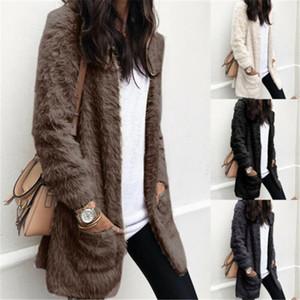 Faux Fur Jacket Coats Women Winter Fleece Cardigan Plush Teddy Bear Coat Warm Casual Pockets Overcoat S-XL