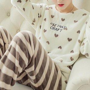 2020 Winter Pajama Korean Sleepwear Cute Cartoon Flannel Pajamas Set Velvet Warm Pijama Round Neck Pyjama Homewear Women Q1201