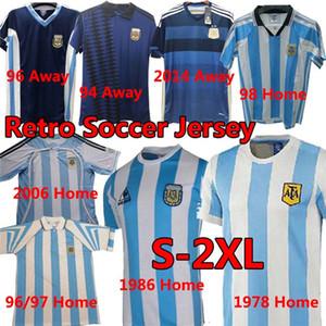 아르헨티나 1986 레트로 축구 유니폼 Maradona 1978 빈티지 클래식 Messi Aguero Dybala 94 96 축구 셔츠 Maillot Camisetas de Futbol 남자