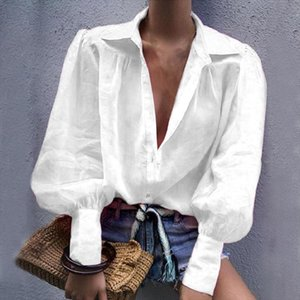 Laamei 2019 Autumn Sexy Notched Collar Office Ladies Blouse Women Lantern Long Sleeve Loose Shirt Solid Button Tops Blouses