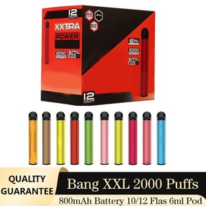 vape bang e 새로운 xxtra 2000 장치 800mAh 배터리 6ml 포드 일회용 퍼프 키트 증기 XXL 담배 펜 빈 RLGXV
