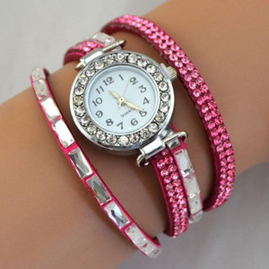 New Leather Watch Rhinestone Crystal Bracelet Wrap Multilayer Bracelets for women feminino pulseras mulher Jewelry