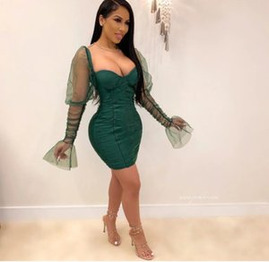 High Waist Autumn Women Clothes Chest Wrapped Mesh Sleeve Solid Color Party Dresses Fashion Casual Female Clothing
