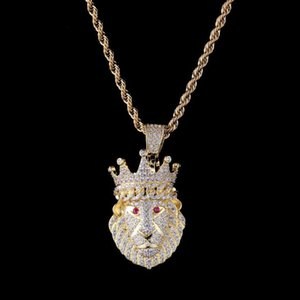 Hip hop new crown lion head zircon pendant crown lion real gold plating men and women trend jewelry