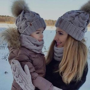 2Pcs Mom Child Knitted Hat Warm Winter Crochet Knit Solid Color Beanie Caps Parent-Child Windproof Cap For Women Boys Girls