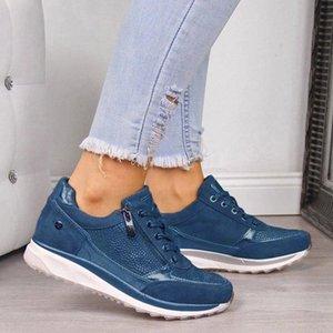 Women Shoes Wedge Flat Shoes New Fashion Gold Sneakers Zipper Platform Trainers Women Casual Lace-Up Womens Sneakers #7Z0p