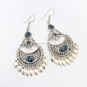 Retro Hollow Butterfly Leaves Tassel Earrings Dangle Ear Cuffs for Women Ancient Silver Fashion Jewelry Will and Sandy Drop Ship