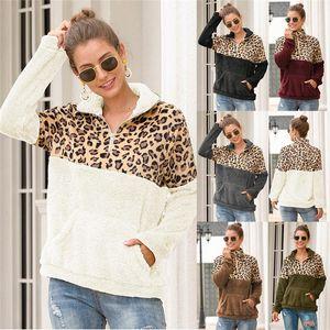 Sherpa Leopard Patchwork Fluffy Thick Sweaters Winter Fleece Hoodie Warm Zipper Pullovers Women Sweatshirts Coat Sherpa Loose Tops