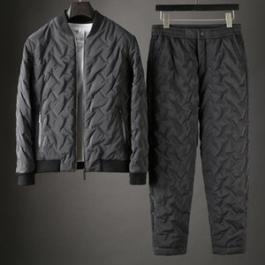 Minglu Mens Sets (Jacket+Pants) Luxury Stand Collar Zipper Man Parka Fashion Slim Fit Elastic Waist Male Pants Plus Size 4xl