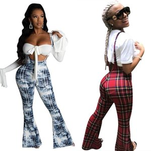 Fashion Women Plaid Overalls Retro High Waist Stretch Suspender Trousers Pure Cotton Comfortable Long Flare Pants