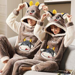 Warm Men's Winter Flannel Couple Pajamas Unisex Adult Anime Cartoon Cute Sleepwear Thicken Hooded Women Men Home Clothes