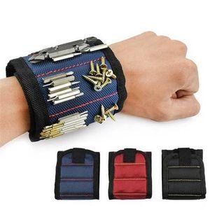 Wristband المغناطيسي جيب أداة حزام الحقيبة حقيبة مسامير حامل القابضة أدوات الأساور المغناطيسي العملي قوي تشاك المعصم مجموعة أدوات FWC4004