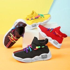 Kids Sock Sneakers 2019 Nuevo otoño niños transpirable niños niñas deporte zapatos niños zapatillas de deporte casuales zapatos de malla zapatos de malla F1207
